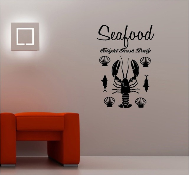 Fish seafood vinyl wall decal decorative fish lobster seafood signboard mural art wall sticker for Stickers para dormitorios