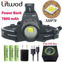 Z20 Litwod 2808 32W head lamp XHP70 powerful Led headlamp 42920lum Headlight flashlight torch zoom Head light 2600mAh battery