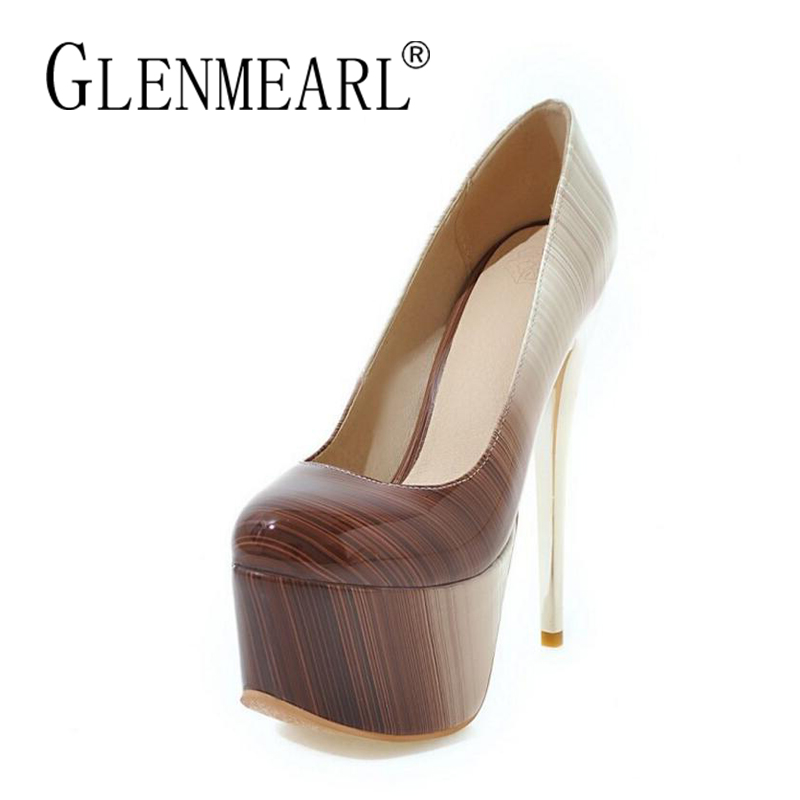 Patent Leather Stiletto Women High Heels Pumps Shoes Woman Brand Platform Thin Heels Ladies Party Wedding Shoes Plus Size 34-46 brand women shoes high heels 12cm sexy pumps shoes for women patent leather high heels wedding shoes woman high heel b 0054