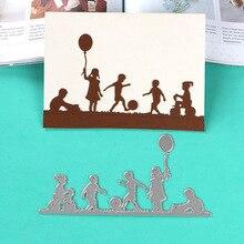 DUOFEN METAL CUTTING DIES playing kids border  stencil DIY Scrapbook Paper Album 2018 new