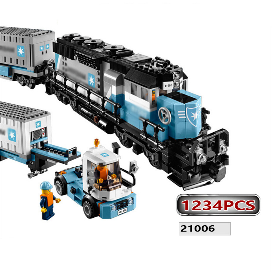 21006 Maersk Container Train building block Truck bricks mini worker blocks figure compatible city 10219 toys for Children lepin 21006 compatible builder the maersk train 10219 building blocks policeman toys for children