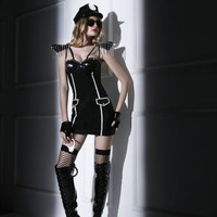 Sexy Faux Leather Women Police Costumes New Cop Outfit Sexy Erotic Police Outfit for Adult Women Halloween Costumes 6011