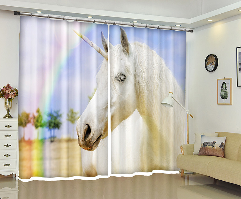 White unicorn 3d Curtains For Living Room Window Treatments Modern Curtains For Beding Room living room High-precision Shade
