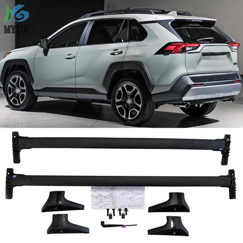Nova chegada horizontal barra Transversal telhado ferroviário rack de teto cruz bar Para Toyota RAV4 2019 + liga de alumínio + ABS, EUA estilo orignal