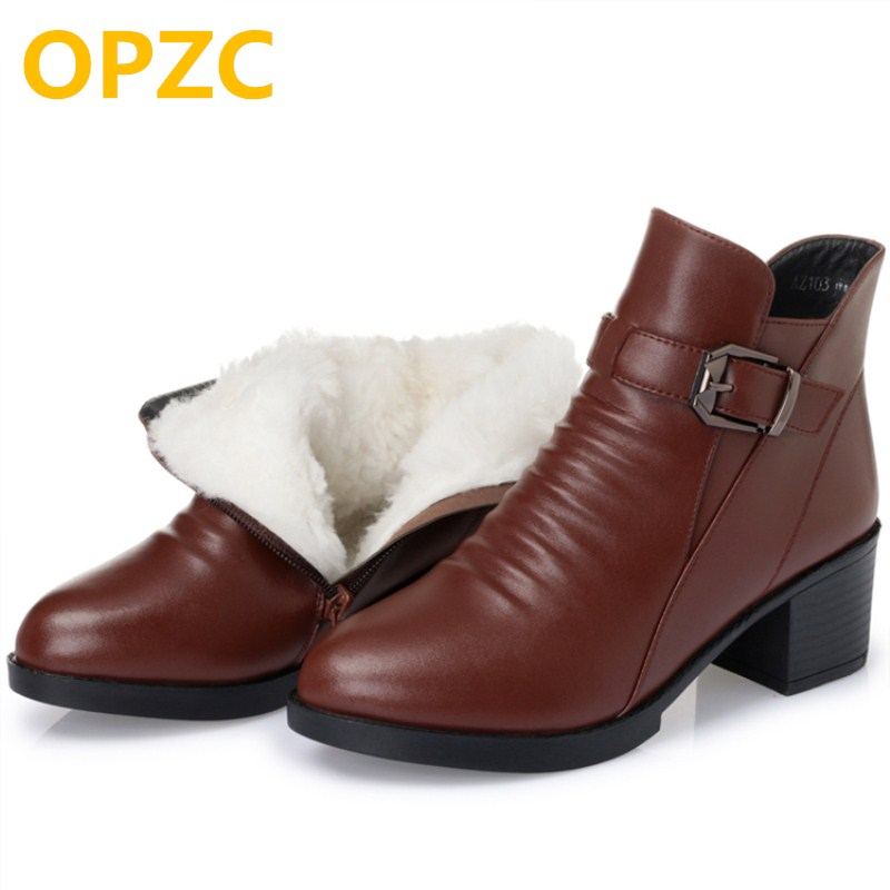 Women's boots. 2018 winter new genuine leather women boots .thick wool warm cotton shoes. plus size 35-43 # ankle boots women new autumn winter thick heel boots genuine leather ankle shoes vintage platform shoes handmade women boots lady plus size 35 43