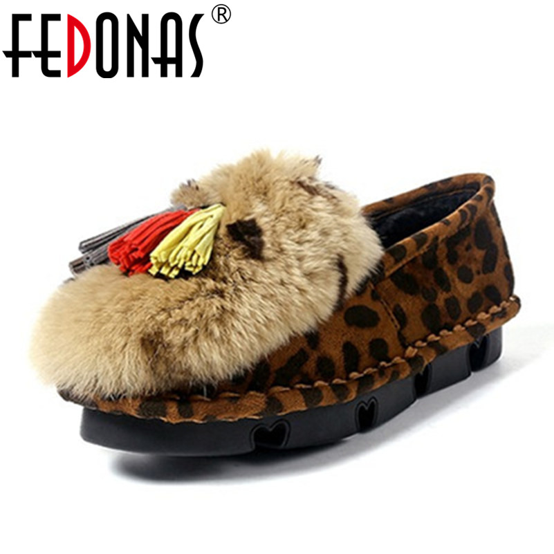 FEDONAS Fashion Women Flat Shoes Black Gray Leopard Female Warm Loafers Plush Inside Snow Shoes Woman Rabbit Fur Casual Shoes fashionable tassels ornament leopard pattern flat shoes loafers black leopard pair size 35