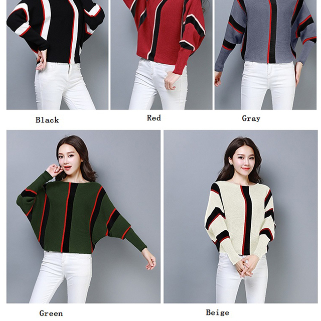 Batwing Full Sleeve Autumn Winter Sweater 2018 women Knit Green Vertical striped Pullovers Sweaters Ladies O-Neck Short Jumper