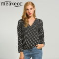 Meaneor Blouse Shirt Women 2017 Spring Casual Polka Dot V-Neck Long Sleeve Elastic Hem Loose Fit Blouse Tops S,M,L,XL,XXL