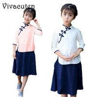Girls Clothing Sets 2018 New Chinese Style Lapel Linen Button Long Sleeve Top Skirt Kids Suits
