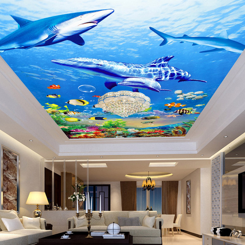 Custom Photo Non-woven Fabric Wallpaper 3D Ocean World Ceiling Mural Paintings Living Room Ceiling Wallpaper Papel Pintado Pared mural wallpaper 3d home decoration cherry trees 3d wallpaper living room ceiling non woven wallpaper ceiling