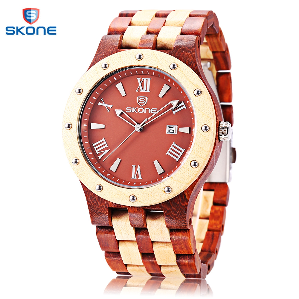 SKONE 2017 Men Quartz Watch Fashion Wood Watches Date Luminous Display All-wooden Wristwatch skone 5051 luminous pointers quartz watch men rotatable bezel wristwatch