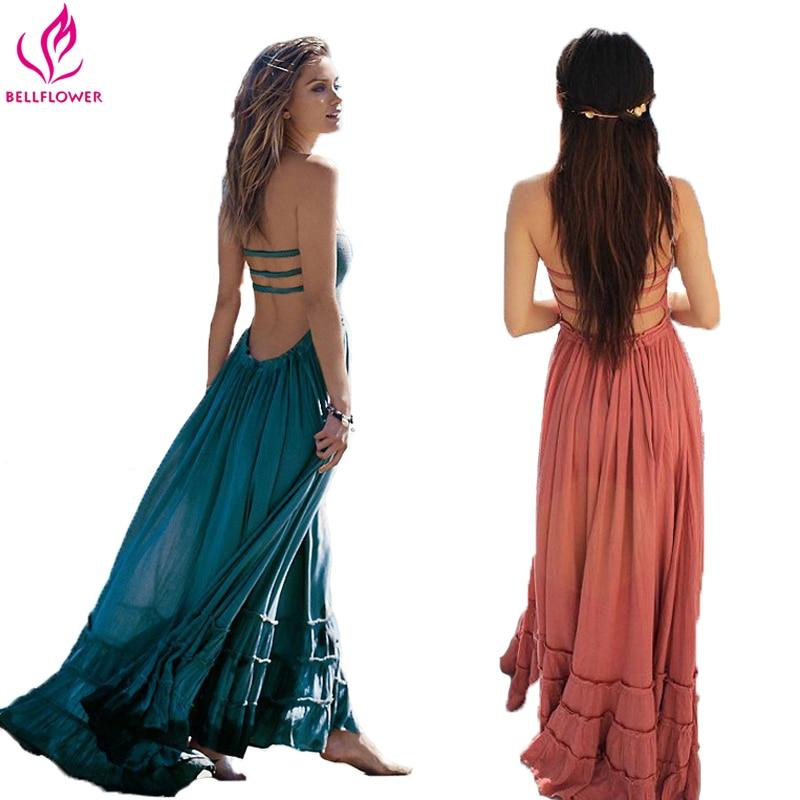 BellFlower שמלת קיץ נשים ללא שרוולים בוהמיים סקסי Boho שמלות ללא משענת המפלגה היפי תחבושת שמלת חוף Vestidos