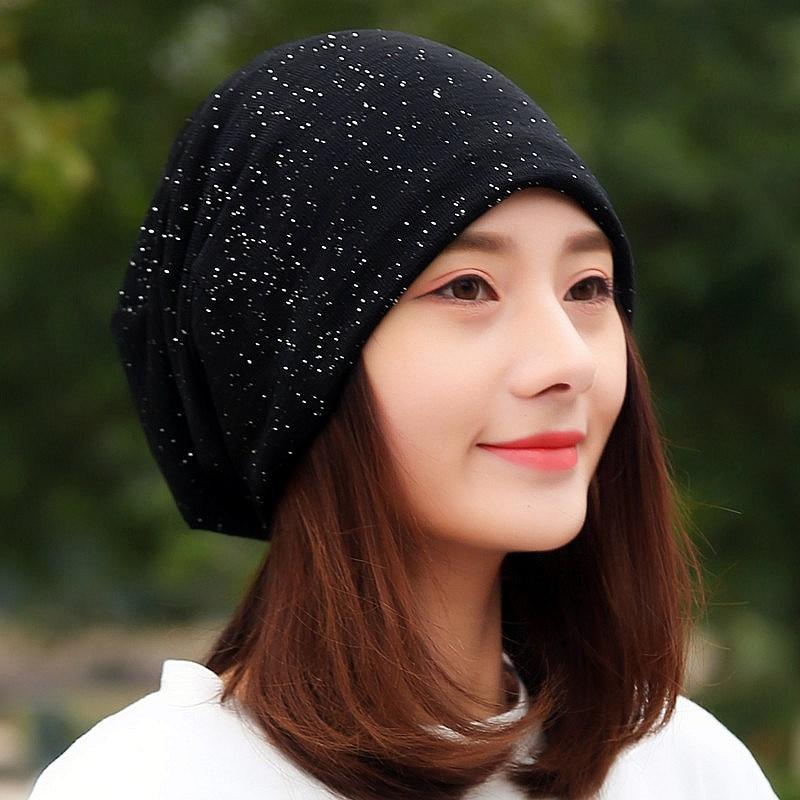 LongKeeper 2019 Fashion Women Cotton Sequin Beanies Female Black Red Navy Headscarf For Girl Hip Hop Hats Caps TTM-F
