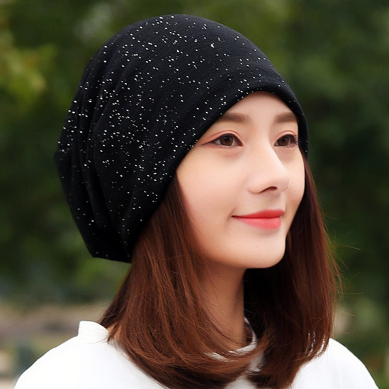LongKeeper 2019 Fashion Women Cotton Sequin   Beanies   Female Black Red Navy Headscarf for Girl Hip Hop Hats Caps TTM-F