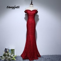 Lace Evening Dresses Long 2018 With Crystals Beaded Wine Red Prom Party Dress Formal Evening Gowns Custom Made vestido de festa