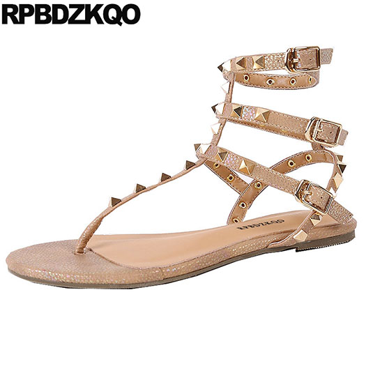 High Quality Rock Stud Shoes Rivet Sandals T Strap Roman Gladiator Flat Strappy Thong Ladies Slingback 2018 Nude Open Toe Women