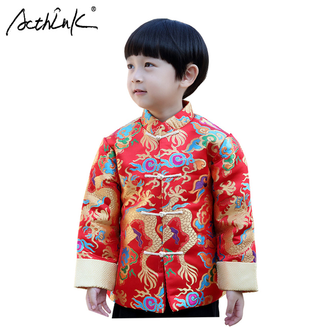 ActhInK New Boys Winter Chinese Style Coat Baby Boys Traditional Hanfu Clothes  Boys Dragon Coat Kids Chinese New Year Outerwear 883a4b190195