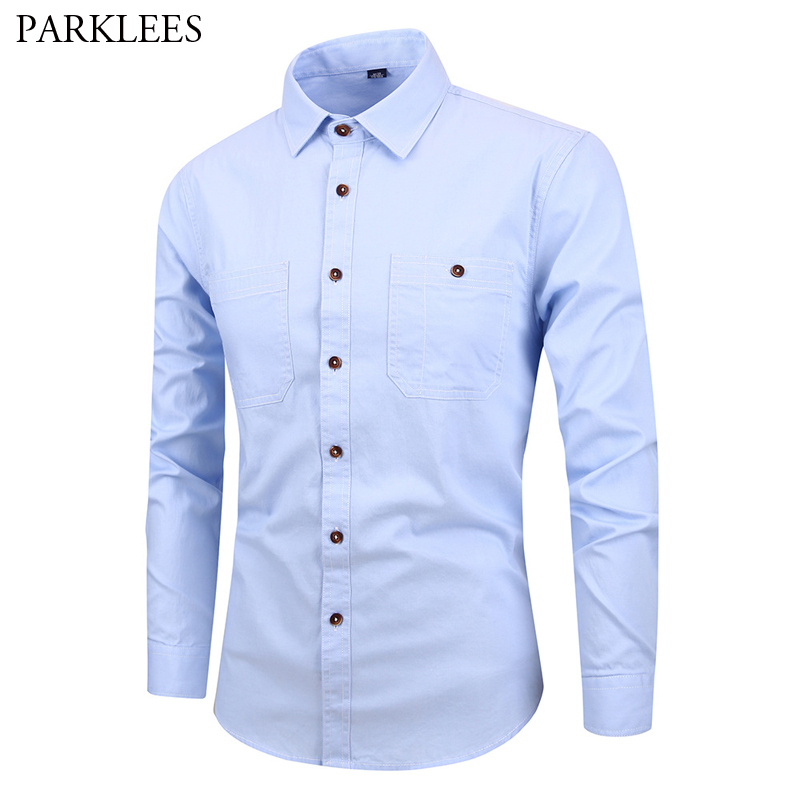 100% Cotton Denim Shirt Men 2019 Spring New Slim Fit Long Sleeve Camisa Social Masculina Mens Business Casual Shirts With Pocket