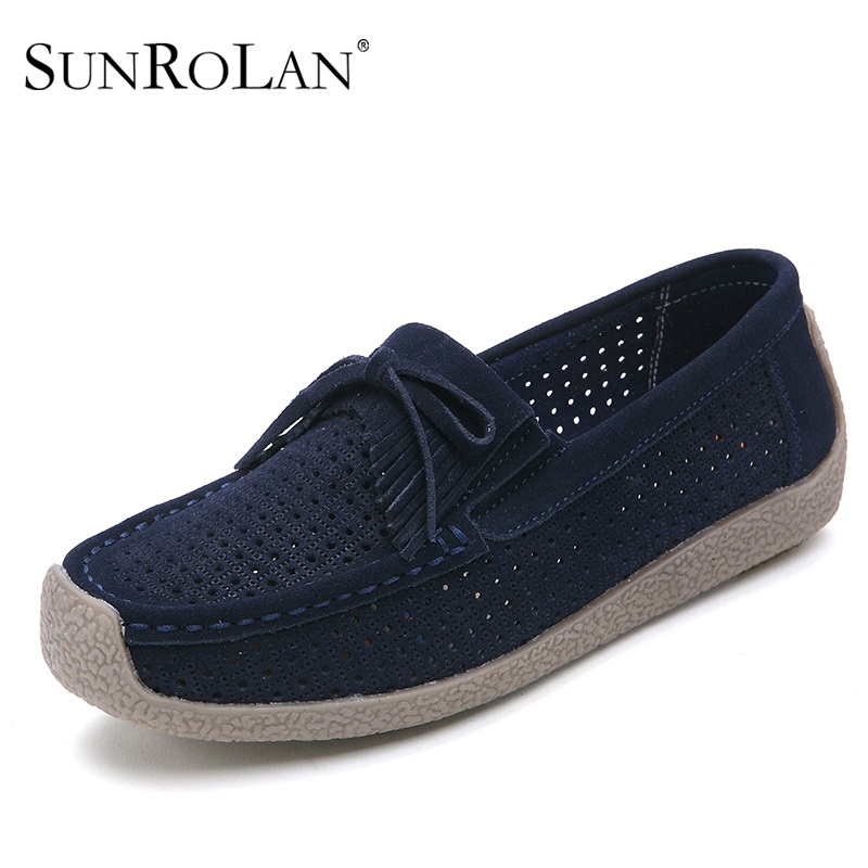 SUNROLAN Women Flat Shoes Leather Moccasins Loafers Tassel Lace up Genuine Leather Boat Shoes Spring Autumn