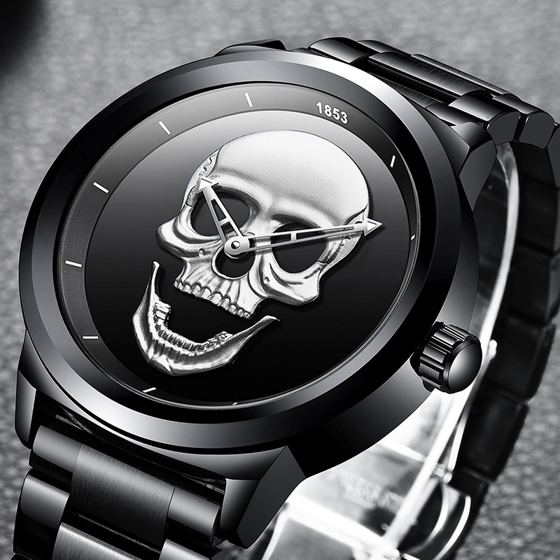 Top Brand LIGE Men Watches Creativity Fashion Top Luxury Brand Watch Men Skull Style Full Steel Waterproof Watch Quartz Watches fashion luxury brand lige steel