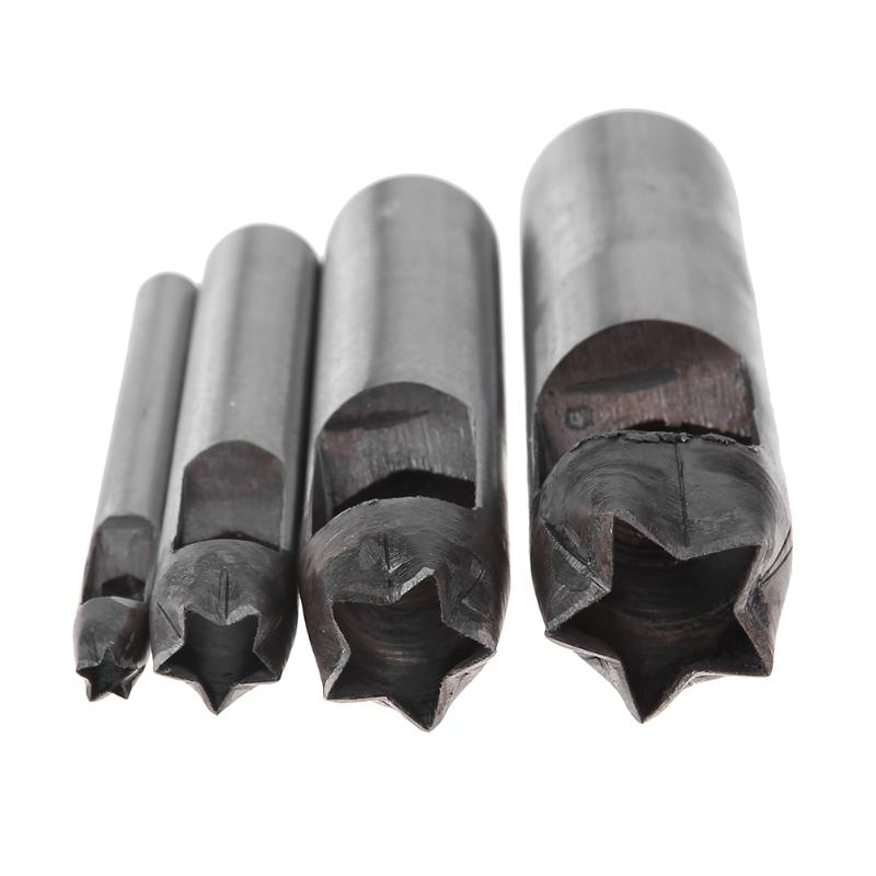 4Pcs/set 5/10/15/20mm Five-pointed Star Pattern Scrapbooking Punchers DIY Manual Belt Hole Punching Leather Steel Drilling Tool deli 0150 heavy duty punchers two hole loose leaf paper 150sheets 80g manual punchers