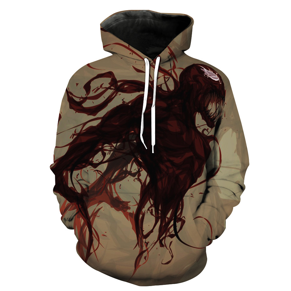 New US Size Cosplay Hoodies for Movie Venom Spider-Man Men Women 3D Coat Sweatshirts Casual Hoodie Costume