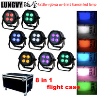 Free Shipping 8pcs/lot Flight Case Packing 4x18w RGBWA+UV 6in1 IP65 Stage Led Par Light Powercon Outdoor LED Par Lumiere DJ Lamp