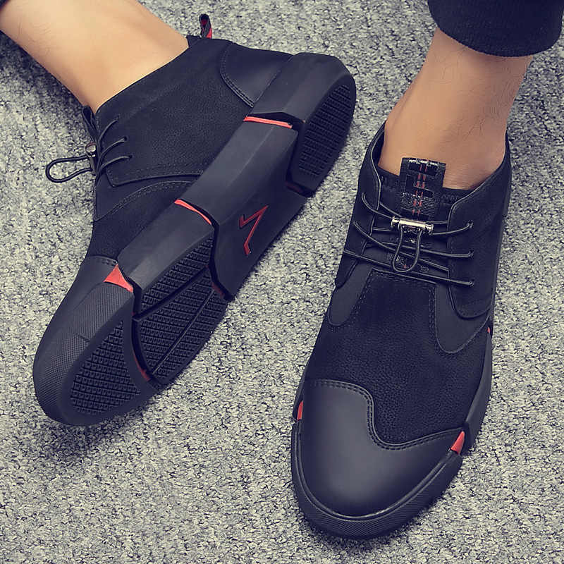black leather walking shoes mens