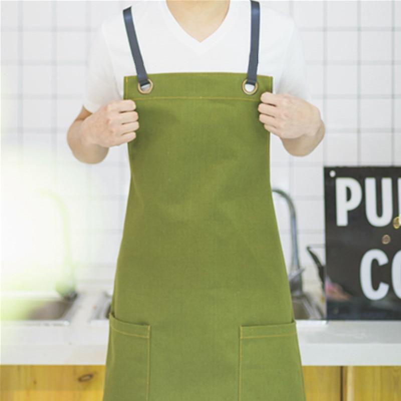 Zeleno platno Bib predpasnik Usnjeni pašček Barber Cvetličarna - Gospodinjski izdelki