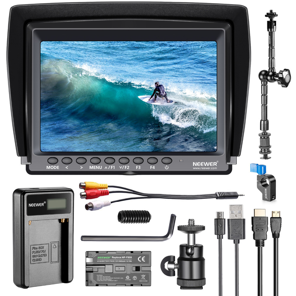 Neewer F100 7-inch 1280x800 IPS Screen Camera Field Monitor Kit:Support 4k input with 2600mAh Rechargeable Li-ion Battery Neewer F100 7-inch 1280x800 IPS Screen Camera Field Monitor Kit:Support 4k input with 2600mAh Rechargeable Li-ion Battery