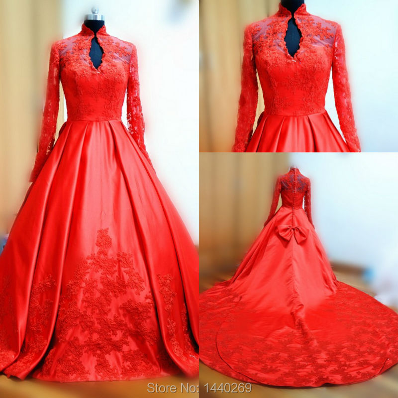 2016 New Actual Photoes High Neck Appliques Lace Satin Coloured Red ...