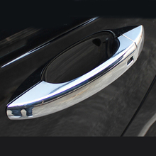 For Audi Q3 2013 2014 2015 ABS chrome car body door handle protect detector frame cover trim car styling accessories 8pcs for audi q3 2012 2015 abs chrome car front fog lamps frame decorative exterior stickers cover trim car styling accessories 2pcs