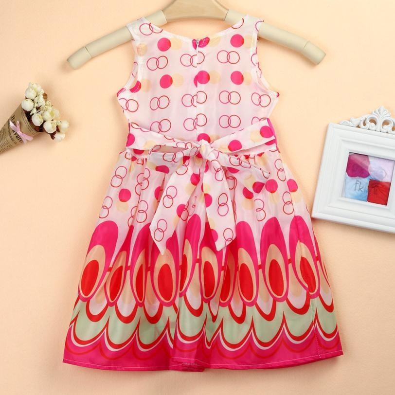 d6272ec11 Kids Girls Dress Bow Belt Sleeveless Bubble Peacock Princess Party ...