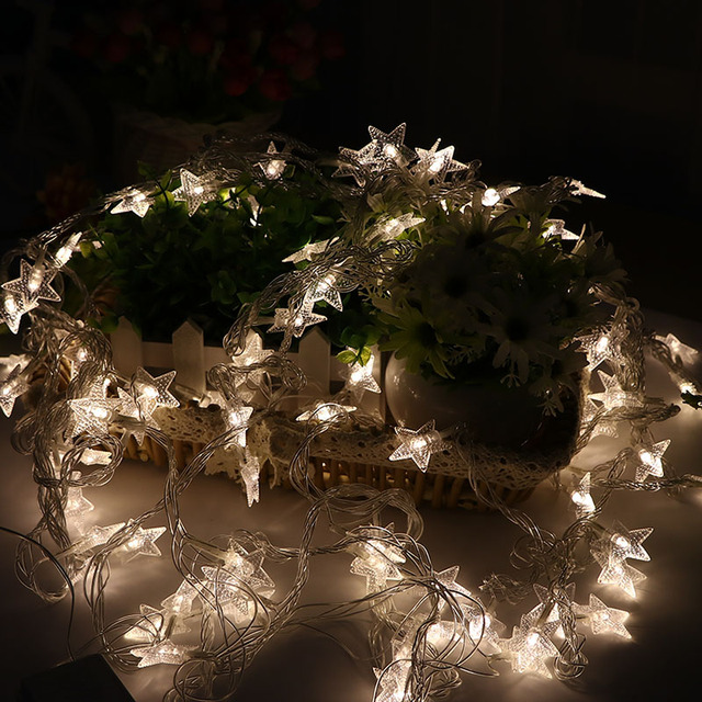 10m 100 Led Bulbs Pearl Stars String Lights Christmas Luces Decoration Wedding Holiday Lighting Fairy Garlands Lamps Festa