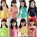 New2016 para a primavera meninas Completo manga Camisetas moda Dos Desenhos Animados Crianças T-shirt roupas