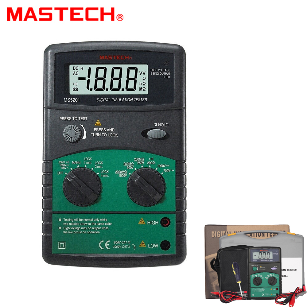 MASTECH MS5201 Digital Insulation Resistance Tester Megger Sound and Flash with Alarm AC/DC Voltage Detector mastech ms5215 high voltage digital insulation resistance tester megometro megger 5000v 3ma temp 10 70c
