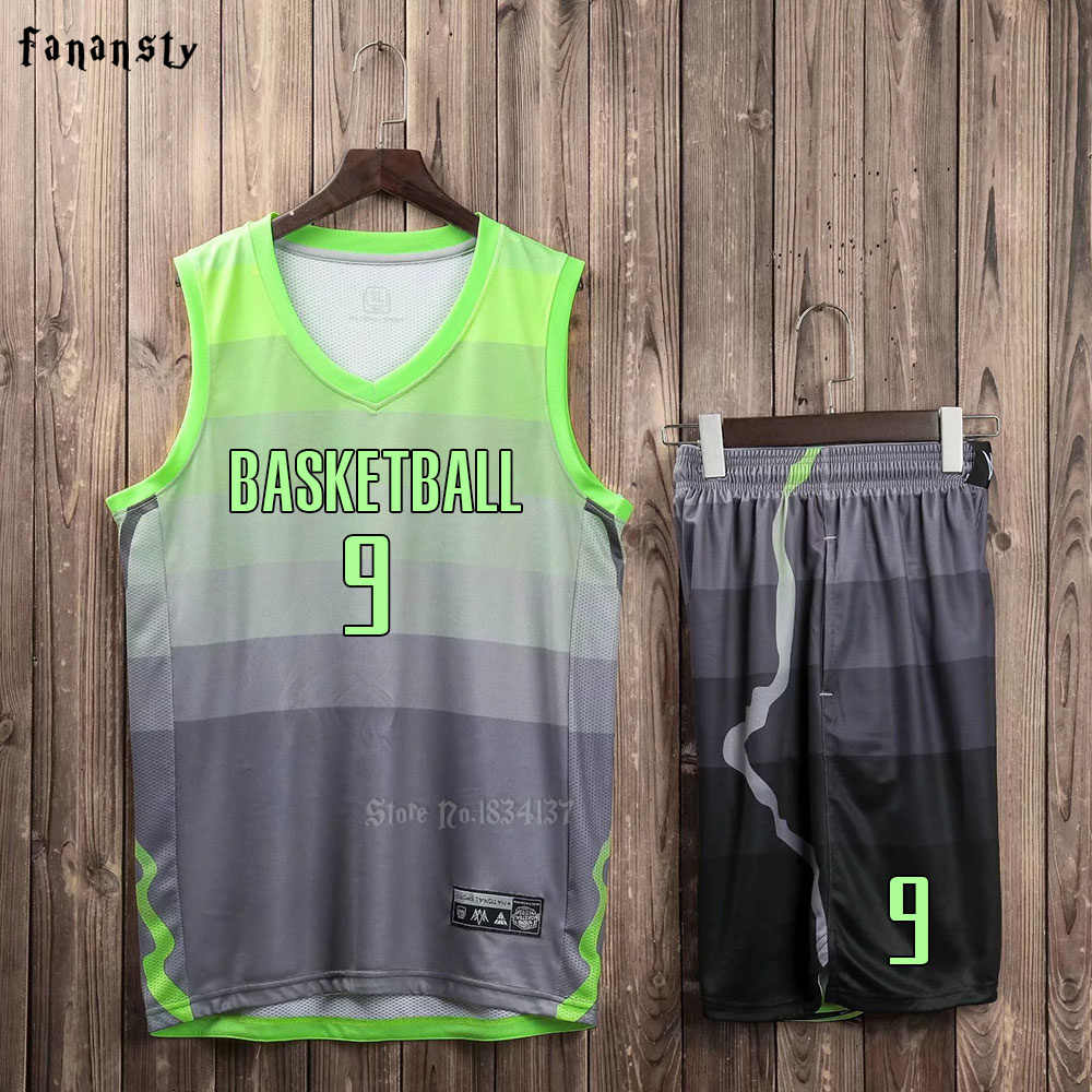 62d712d9824a ... Men Basketball jerseys Team Sports Suits Breathable Quick dry Customized  kids youth Basketball uniforms set kits ...