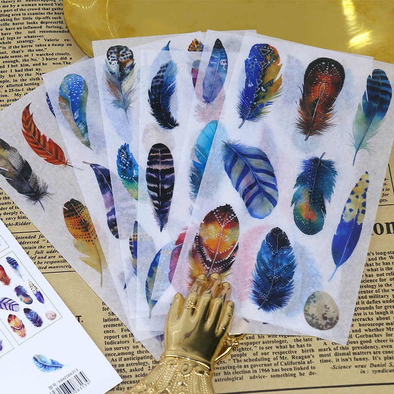 6 pcs/paquet mignon fantaisie plumes Scrapbooking autocollants bricolage artisanat décoracion balle Journal Photo Albums décoration autocollant