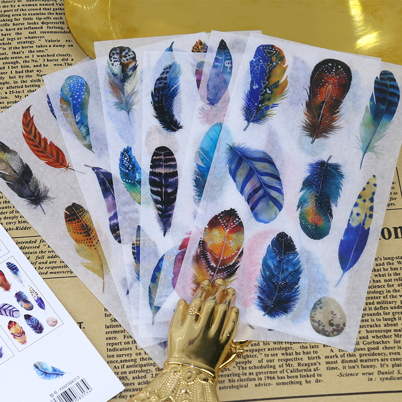 6pcs/Pack Cute Fantasy Feathers Scrapbooking Stickers DIY Craft Decoracion Bullet Journal Photo Albums Decoration Sticker