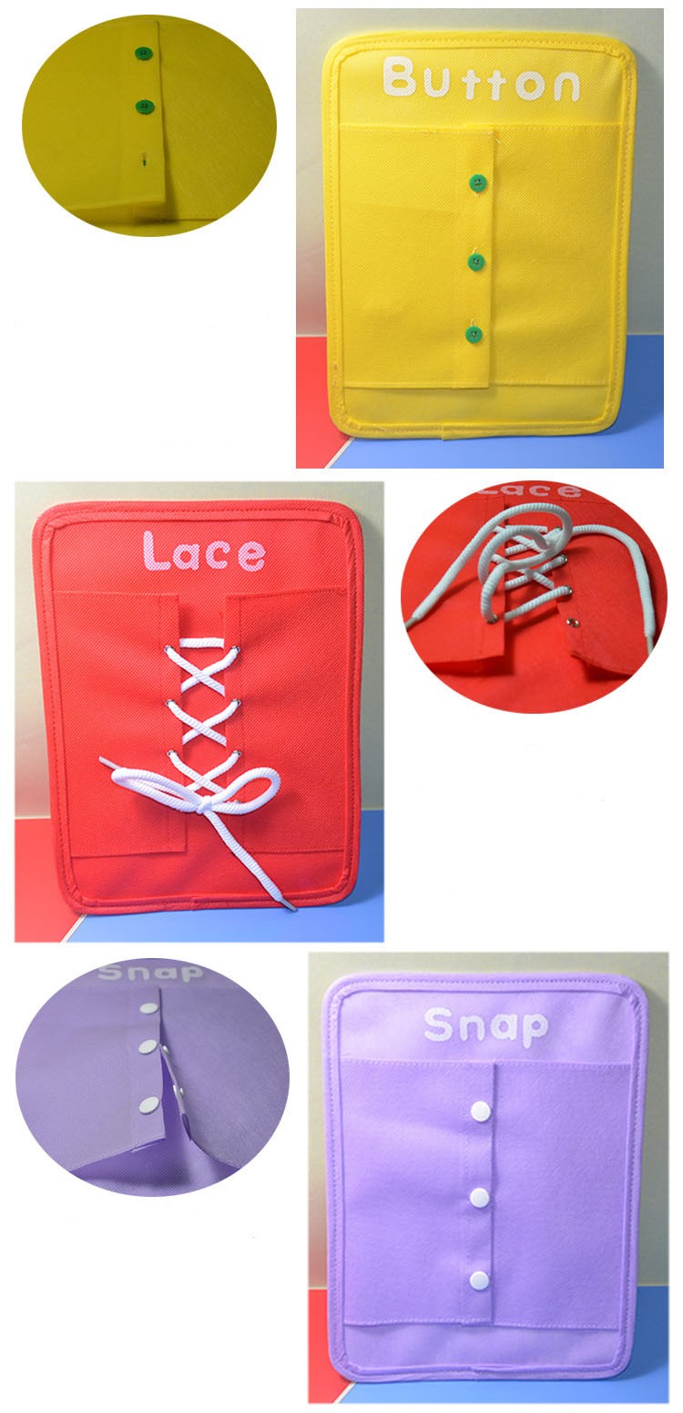6 pçs set Bebê Brinquedo Montessori Vestir