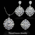 9 Color Option Fashion Ladies Jewelry Set Sparkling White Cubic Zirconia Crystal Flower 925 Sterling Silver Sets For Women JS192