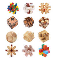 DIY 3D Wooden Puzzle Toys Kids Assembling Wood Kong Ming Luban Lock Toys Ball Cube IQ Brain Learning Education Toys