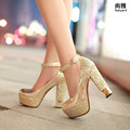 Fashion high-heeled shoes thick heel platform champagne color wedding shoes bridal shoes gold formal shoes size 34-39 s1180