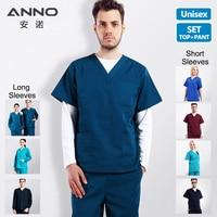 ANNO Medical Scrubs Set Out Coat Long Short Sleeve Nurse Uniform Outwear Winter Medical Suits for Women Men Outfit Doctor Jacket