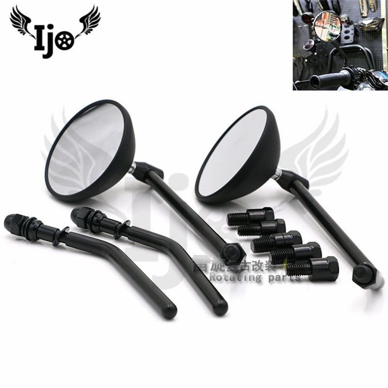 carbon fibre color black round moto rearview mirror for harley motorbike side mirror unviersal motorcycle mirror scooter parts