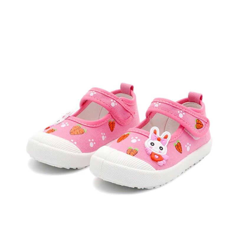 JGSHOWKITO filles chaussures de toile chaussures de sport doux enfants baskets de course couleur bonbon avec dessin animé lapin carottes imprime enfants