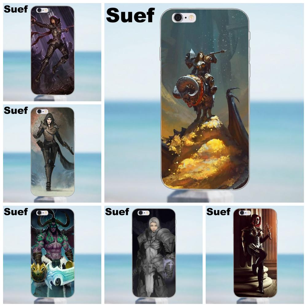 Suef Soft TPU Shell For iPhone X 4 4S 5 5S 5C SE 6 6S 7 8 Plus Galaxy A3 A5 J1 J3 J5 J7 2016 2017 Diablo 3 Demon Hunter Crusader