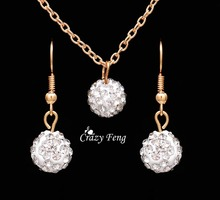 Free shipping New Fashion women Jewelry Sets Rhinestone ball Necklace Earrings Dangle Pendants18K Gold Plated Crystal Party gift