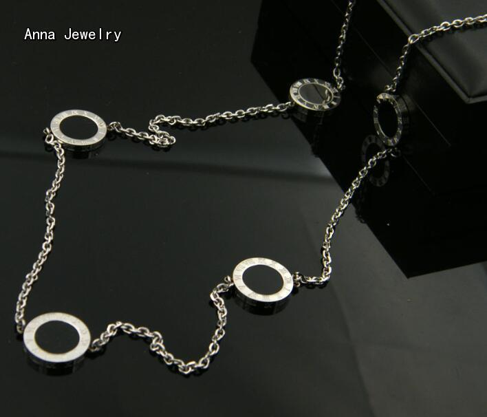 New Elegant Long Chain Sautoir Necklace Stainless Steel with White Black Shells Classic Models Roman Numerals