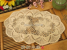 Handmade Crochet flowers Small Oval tablecloths Cotton placemats Coasters Decorative Cover cloth Mats 2PCS